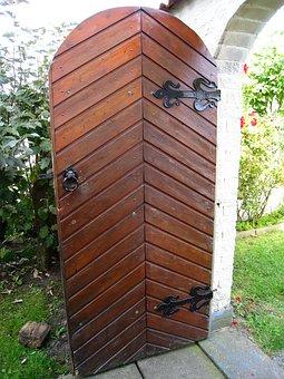 Door, Garden, Vault, Grass, Shrubs, Summer, Seizure