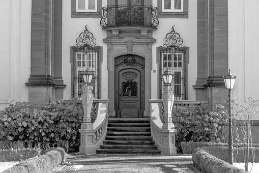 Castle, Door, Input, Stairs, Garden, Hof, Old, Wood