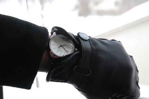 Mittens, Watch, Hands, Cold, Snow, Winter, Sweden