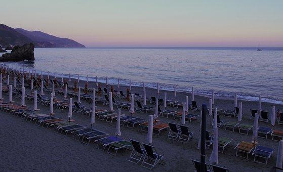Beach, Sunset, Umbrellas, Sea, Water, Holiday, Summer