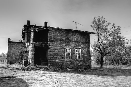 Black And White, House, The Ruins Of The, Destroyed