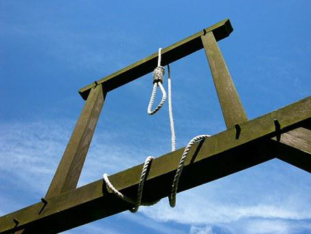 Gallows, Ropes, Loop, Wooden Frame, Blue Sky