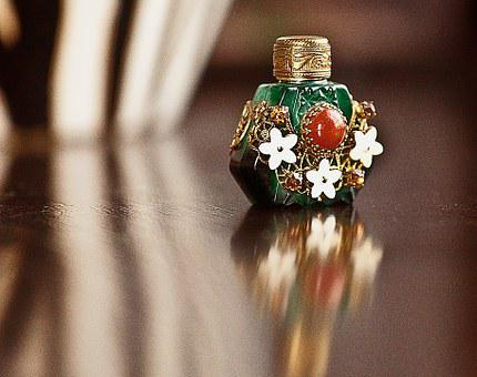 Bottle, Small, Dashing, Decorated With, Glass, Metal