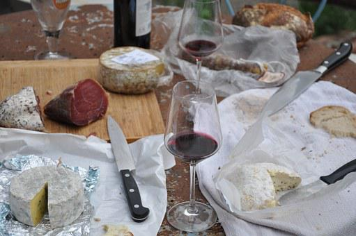 Picnic, Cheese, Wine, Food, Bread, Table
