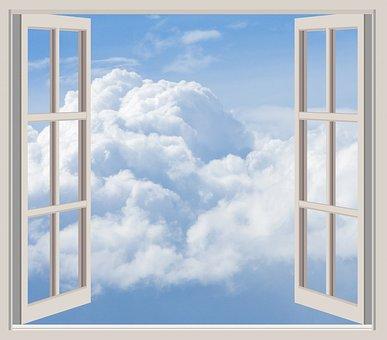 Clouds, Window, Frame, Open, Seen Through Window