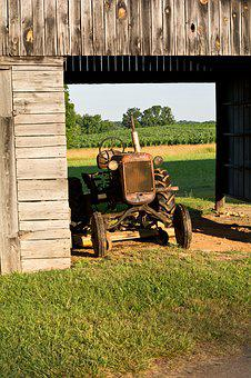 Barn, Rural, Country, Farm, Tractor, Rust