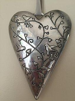 Heart, Ornament, Dec, Silver, Decor, Souvenir, Gift