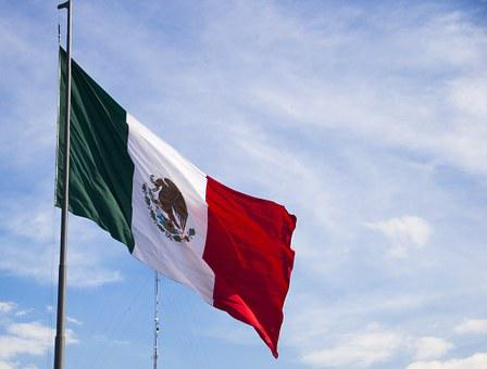 Flag, Mexico, Sky, Coat Of Arms, Flagpole, Clouds