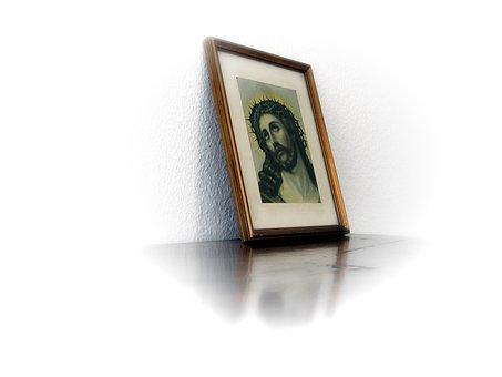 Photo, Christ, Jesus, Frame, Crown Of Thorns, Bart