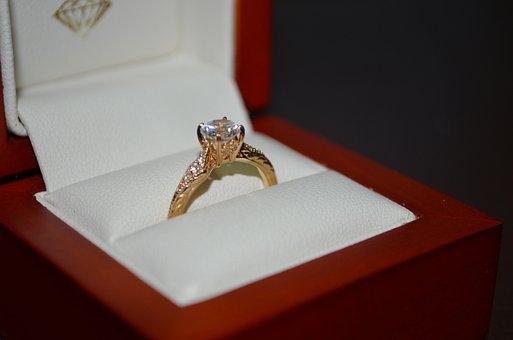 Ring, Jewlry, Engagement, Gold, Yellow, Diamond, Cz