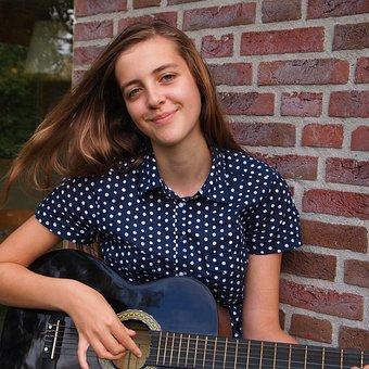 Girl, Guitar, Music, Happy, Long Hair, Hands