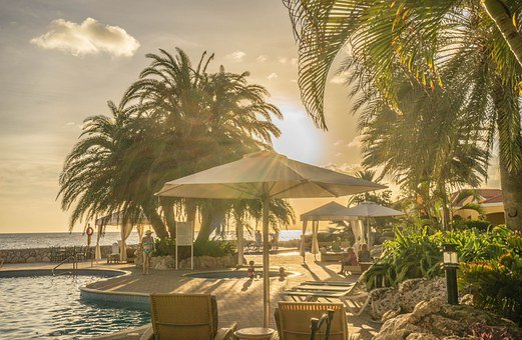 Sunset, Cabana, Beach, Vacation, Travel, Holiday, Sea