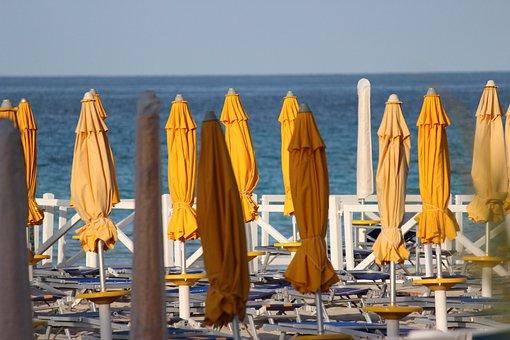 Umbrellas, Beach, Summer, Sea, Yellow, Sky, Blue, Lido