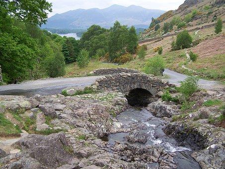 Bridge, Brook, Stream, Water, Flowing, Ashness, Keswick