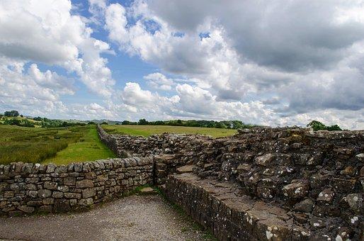 Wall, England, Stone, Frontier, Roman, Old, Walk