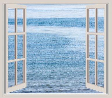 Ocean, Sea, Water, Blue, View, Scene, Seen, Window