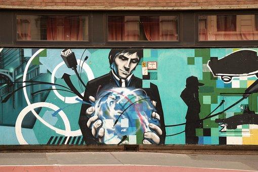 Graffiti, Art, Painting, Mural, Blue, Street Art