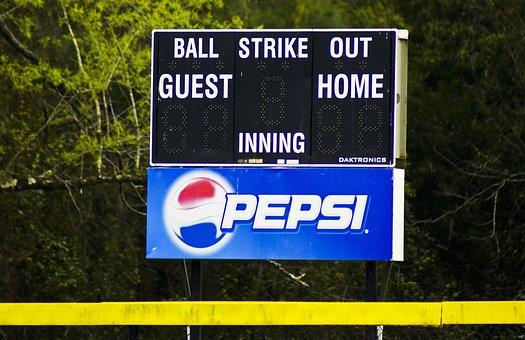 Score, Sports, Baseball, Ads, Pepsi, Logo, Drink