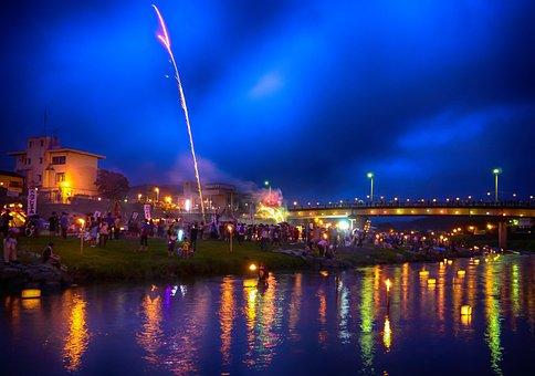 Japan, Kumamoto, Festival, Nagasaki, River, Soul, Night