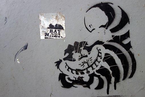 Graffiti, Cat, Cheshire Cat, Image, Artwork, Drawing