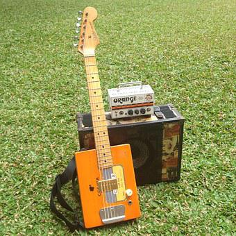 Guitar, Amplifier, Speaker, Cabinet, Park, Grass