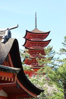 Japan, Asia, Red, Temple, Pagodas, Buddhist, Religion