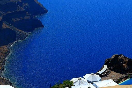 Hunting, Santorini, Greece, Sea, Coast, Blue Water