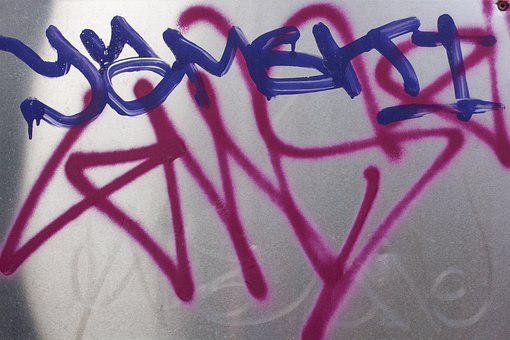 Graffiti, Wall, Grunge, City, Home, Silver Plate