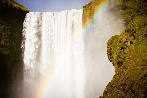Rainbow, Waterfall, Iceland, Water, Nature, Landscape