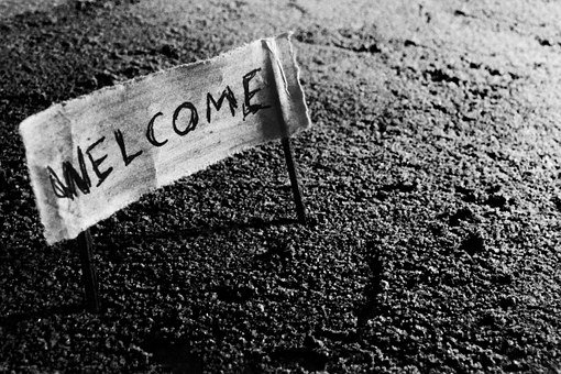Welcome, Plank, Old, Sign, Mystery, Mysterious, Black