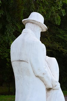 Statue, Brancusi, Hats, Hug, Back, Man, Woman