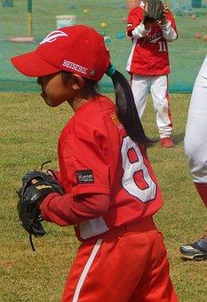 Basebal, Baseball, Red Uniform, Girl, Game, Hair, Child