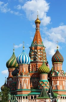 Saint Basil's Cathedral, Cross, Blue, Gold, City, Dome