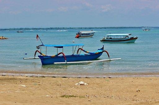 Bali, Boat, Indonesian, Indonesia, Beach, Blue, Sand