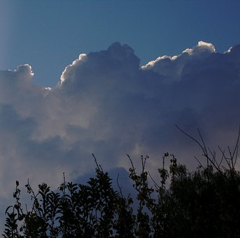 Clouds, Massed, Puffy, Large, Blue Shadows, White Edge