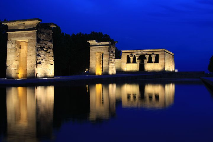 Temple Debod, Egyptian, Night, Temple, Highlights