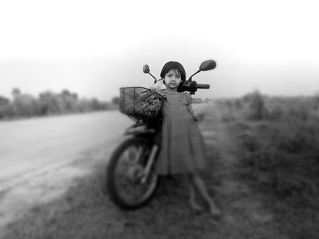 Girl, Motorcycle, Motorbike, Child, Infant