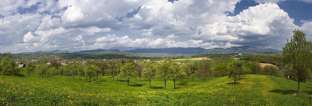 Panorama, Spring, Landscape, Nature, Green, Mountain