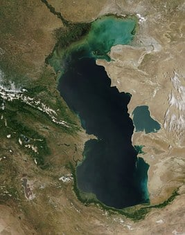 Caspian Sea, Satellite Image, Aerial View, Map