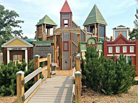Playground, Old West, Village, Park, Summer, Play