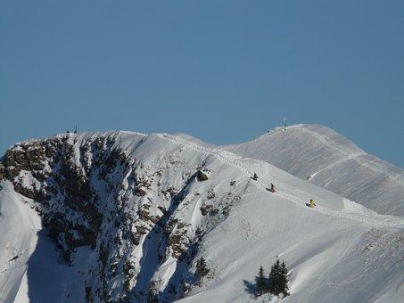 Mountain, Backcountry Skiiing, Rise, Summit, Skiing