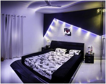 Bed, Bedroom, Theatre Lights, Modern, House, Rest