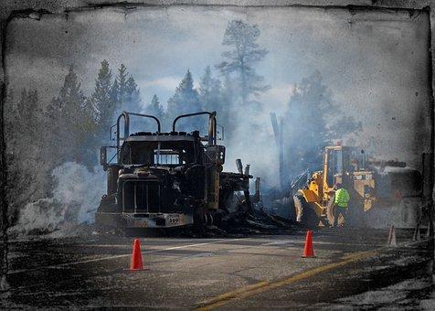 Burning Truck, Catastrophe, Accident, Dark Smoke, Fire