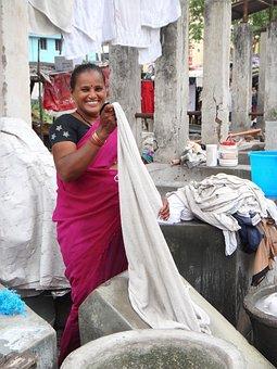 Dhobi, India, Washer, Woman, Clothes, Laundry, Washing