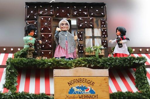 Hansel And Gretel, Dolls, The Witch, Gingerbread House