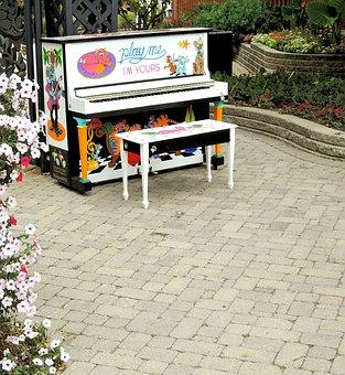 Street Piano, City, Music, Flowers, Outdoors, Ontario