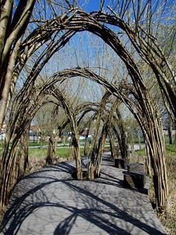 Gate, Willow, Arcade, Nature, Tunnel