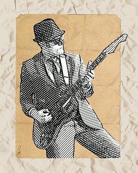 Guitar, Guitarist, Electric Guitar, Paper Art, Art