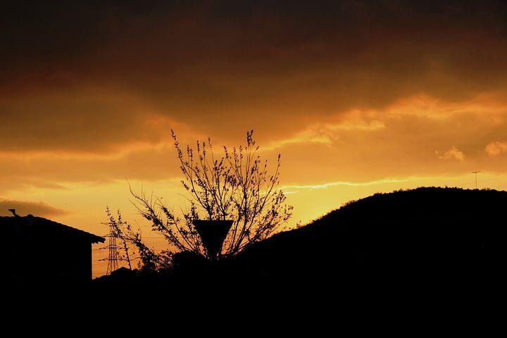 Sunset, Cloud Layers, Light, Glow, Gilt Edge