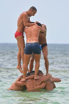 Teamwork, Men, Sea, People, Ocean, Swimming Trunks